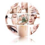 Colagem de procedimentos fêmeas da beleza na forma da bola imagens de stock royalty free