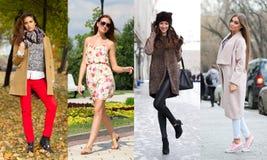 Colagem de quatro modelos diferentes na roupa elegante para Fotos de Stock