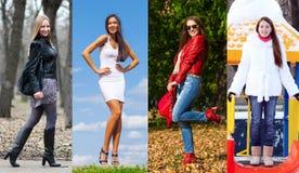 Colagem de quatro modelos diferentes na roupa elegante para Imagem de Stock Royalty Free
