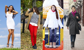 Colagem de quatro modelos diferentes na roupa elegante para Fotografia de Stock Royalty Free