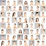 Colagem de retratos bonitos, saudáveis e novos da fêmea dos termas Caras de mulheres diferentes Levantamento de cara, skincare, p fotografia de stock