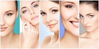 Colagem de retratos fêmeas Caras saudáveis das jovens mulheres Termas, levantamento de cara, conceito da cirurgia plástica fotos de stock royalty free