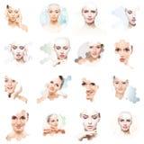 Colagem de retratos fêmeas Caras saudáveis das jovens mulheres Termas, levantamento de cara, conceito da colagem da cirurgia plás fotos de stock royalty free