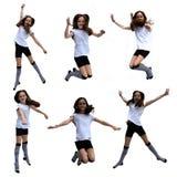 Colagem de salto da menina fotos de stock