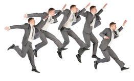 Colagem de salto feliz da equipe do negócio imagens de stock royalty free