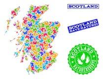 Colagem de salvaguarda da natureza do mapa de Escócia com borboletas e selos riscados ilustração royalty free