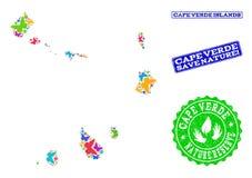 Colagem de salvaguarda da natureza do mapa de ilhas de Cabo Verde com borboletas e carimbos de borracha ilustração royalty free