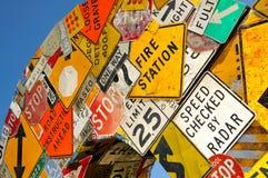 Colagem de sinais de estrada Fotos de Stock Royalty Free
