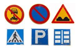 Colagem de sinais de estrada do tráfego no fundo branco Fotos de Stock