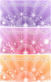 Colagem de três cartões coloridos do feriado de inverno com estrelas brilhantes Imagens de Stock Royalty Free