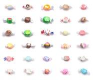 Colagem de trinta sabores diferentes do Taffy da água salgada imagem de stock