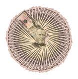 Colagem de um close-up de cinqüênta notas de dólar para o fundo Fotos de Stock Royalty Free