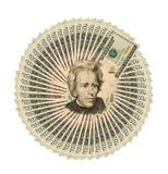 Colagem de um close-up de vinte notas de dólar para o fundo Imagens de Stock