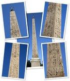 Colagem de um obelisk egípcio fotos de stock royalty free