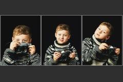 Colagem de um rapaz pequeno com uma câmera em suas mãos fotografia de stock