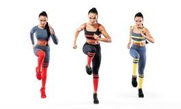 Colagem de um velocista forte atlético, das mulheres, vestir de corrida na motivação do sportswear, da aptidão e do esporte corre foto de stock