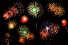 Colagem de uma variedade de fogos-de-artifício coloridos Fotos de Stock Royalty Free