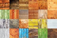 Colagem de várias amostras de madeira diferentes da textura Foto de Stock Royalty Free