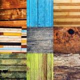 Colagem de várias amostras de madeira diferentes da textura Fotos de Stock