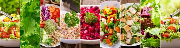 Colagem de vários tipos placas de salada imagens de stock royalty free