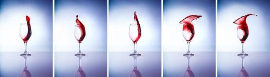 Colagem de vidros de vinho Imagens de Stock Royalty Free