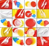 Colagem descartável dos utensílios de mesa Fotos de Stock