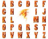 Colagem do alfabeto da flama e da lava ilustração do vetor