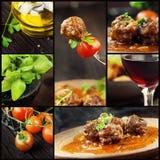 Colagem do alimento - bolas de carne foto de stock royalty free