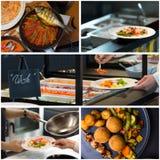 Colagem do alimento do restaurante Fotografia de Stock