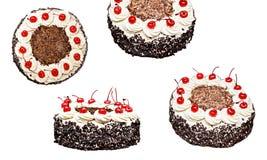 Colagem do bolo da Floresta Negra em formulários diferentes, isolada Imagens de Stock