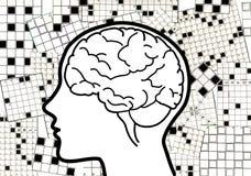 Colagem do cérebro das palavras cruzadas Fotos de Stock Royalty Free