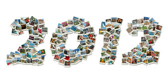 Colagem do cartão de 2012 picofarad feita de fotos do curso Fotografia de Stock Royalty Free