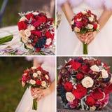 Colagem do casamento com fim do ramalhete da noiva acima fotografia de stock