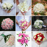Colagem do casamento com fim do ramalhete da noiva acima Imagens de Stock Royalty Free