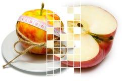 A colagem do cerco da maçã da fita de medição amarrou com guita a imagem de stock royalty free