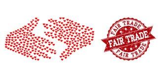 Colagem do coração do amor do ícone de comércio justo e do carimbo de borracha do aperto de mão ilustração royalty free