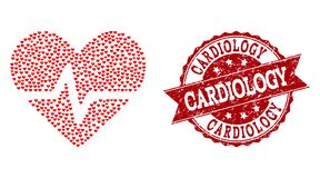 Colagem do coração do amor do ícone do pulso do coração e do selo do Grunge ilustração stock