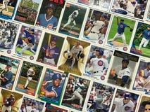 Colagem do cromo de coleção do basebol dos Chicago Cubs fotografia de stock