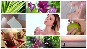Colagem do cuidado da beleza video estoque
