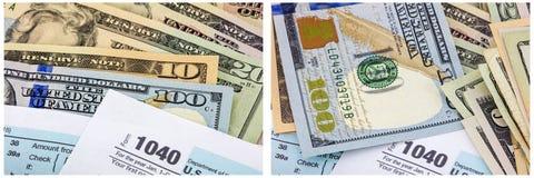 colagem 1040 do dinheiro do dinheiro do imposto de renda Fotos de Stock Royalty Free