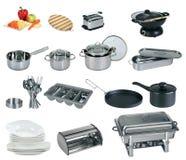 Colagem do dishware, utensílio, bandejas Fotografia de Stock