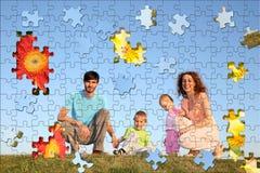 Colagem do enigma do agregado familiar com quatro membros fotografia de stock