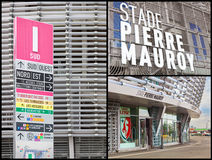 Colagem do estádio de futebol de Pierre Mauroy Foto de Stock