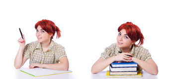 A colagem do estudante fêmea novo no branco Fotografia de Stock