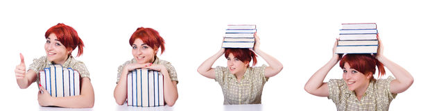 A colagem do estudante fêmea novo no branco Imagens de Stock