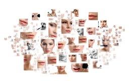 A colagem do fim bonito da cara da mulher levanta Fotos de Stock