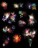 Colagem do fogo-de-artifício Foto de Stock