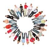 Colagem do formulário do sol do círculo dos povos da multidão fotos de stock