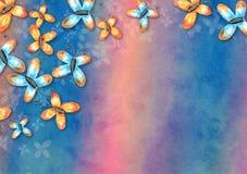 Colagem do fundo do papel da borboleta da aquarela ilustração do vetor