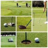 Colagem do golfe fotos de stock royalty free